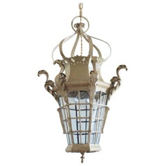 19th Century French Handcrafted Wrought Iron Electrified Lantern