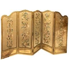 19th Century French Handmade Gilt Wood Five Panel Silk Folding Dressing Screen