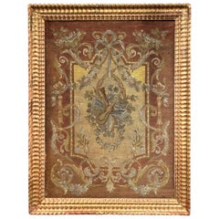 19th Century French Handwoven Needlepoint Tapestry in Carved Gilt Frame