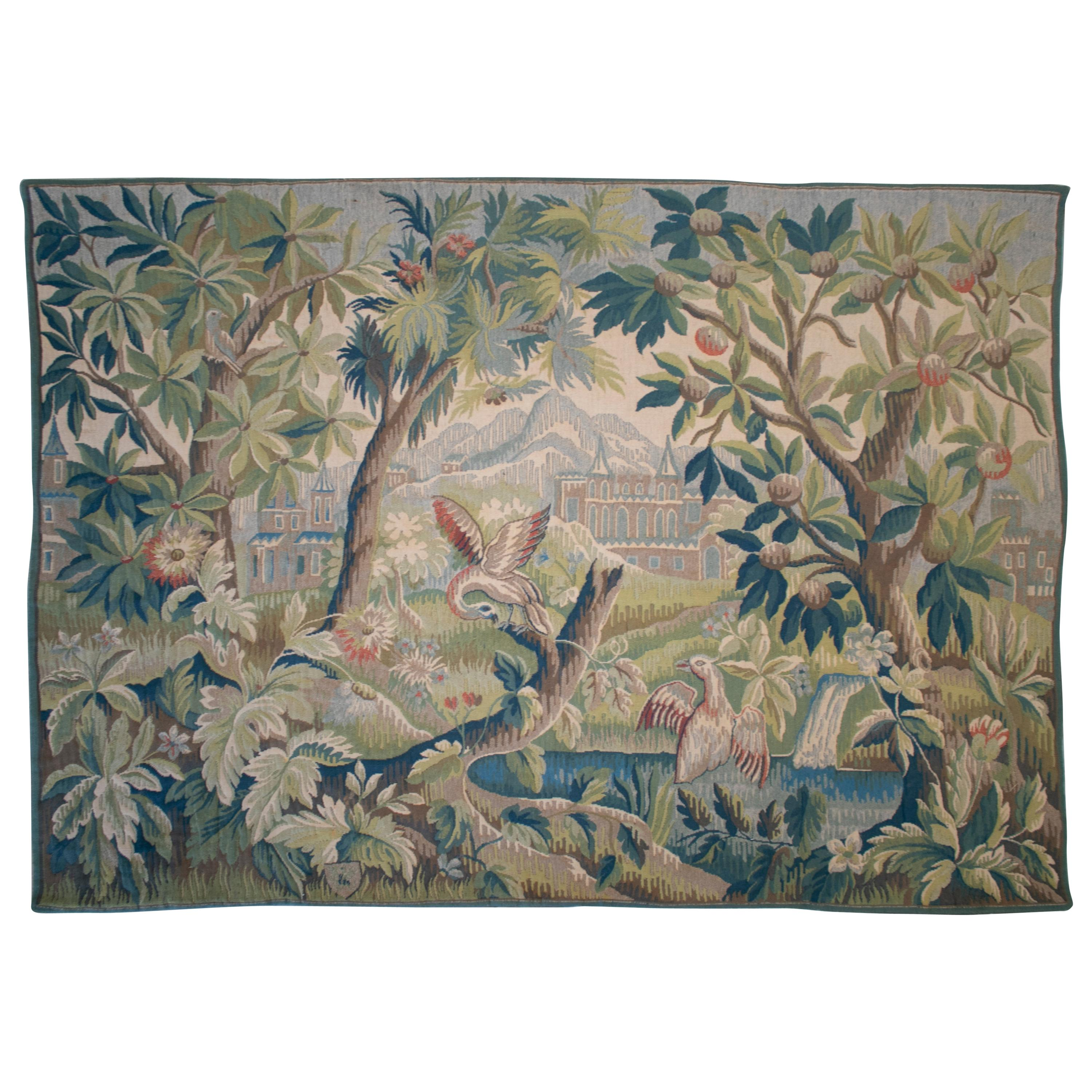 19th Century French Hand Woven Tapestry Scenery with Birds