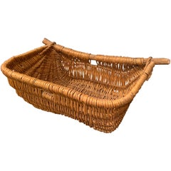19th Century French Handwoven Wicker Grape Harvesting Basket with Wood Handles