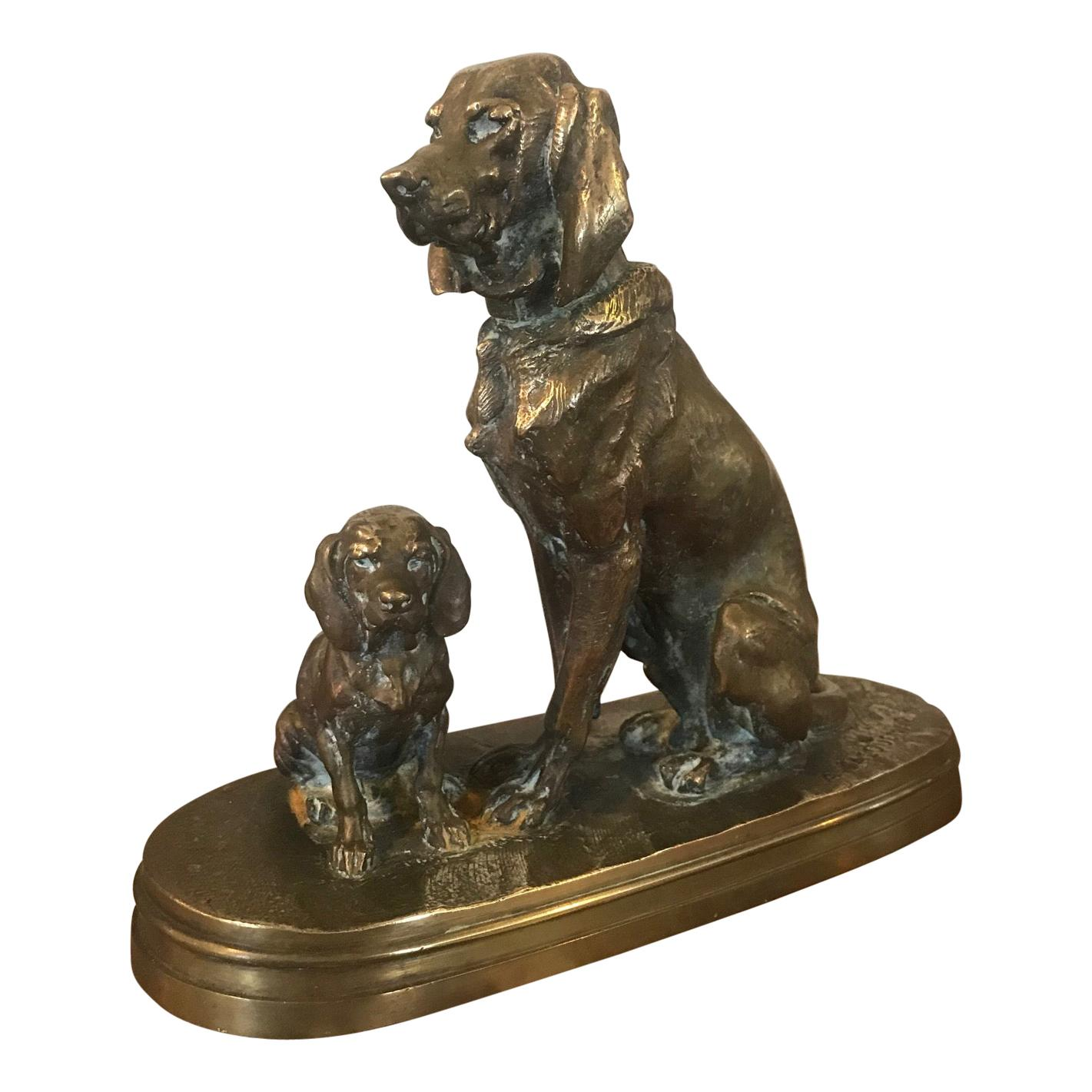 19th Century French Henri Alfred Jacquemart Bronze Dogs Sculpture