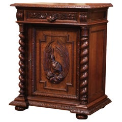 19th Century French Henri II Carved Oak Jelly Cabinet with Bird Decor