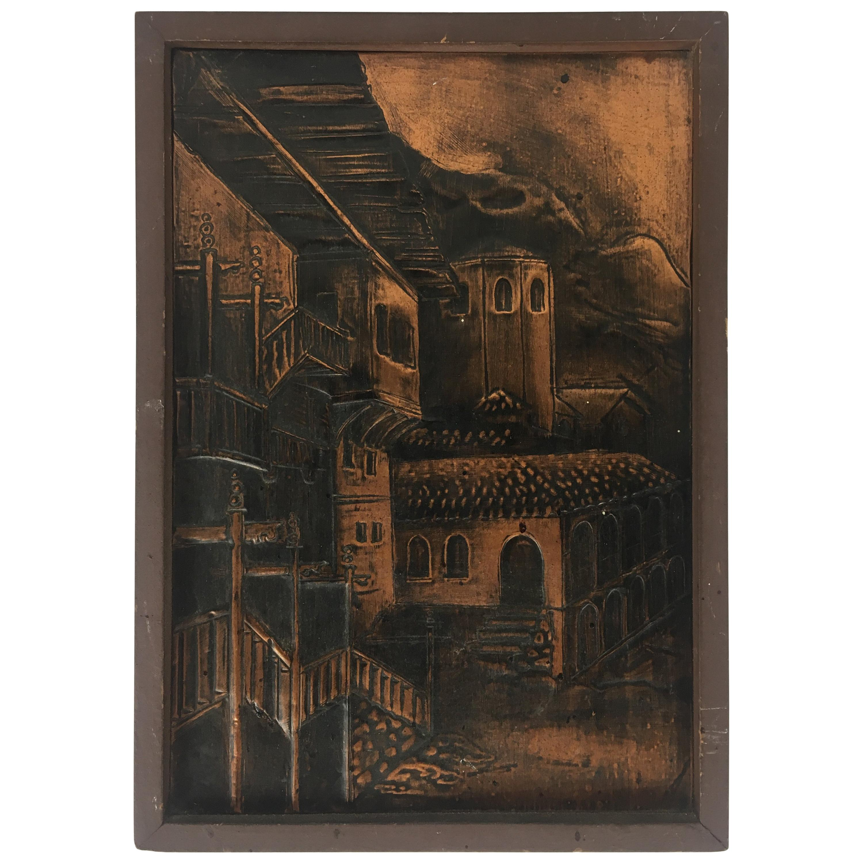 19th Century French Historical Hammered Copper Relief Plaque