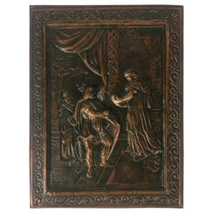 19th Century French Historical Hammered Copper Relief Plaques