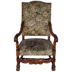 19th Century French Honey Color Beechwood Throne Chair