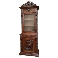 19th Century French Hunt Cabinet Bookcase Black Forest Carved Oak Glass Display