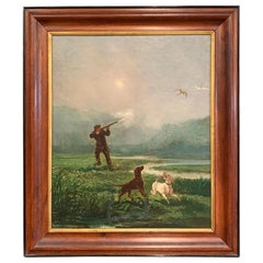 19th Century French Hunter and Dogs Oil on Canvas Painting in Walnut Frame