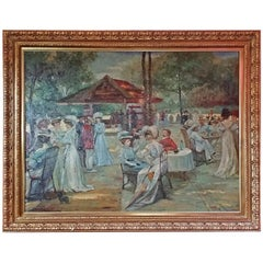 19th Century French Impressionist Oil on Canvas of Picnic Scene