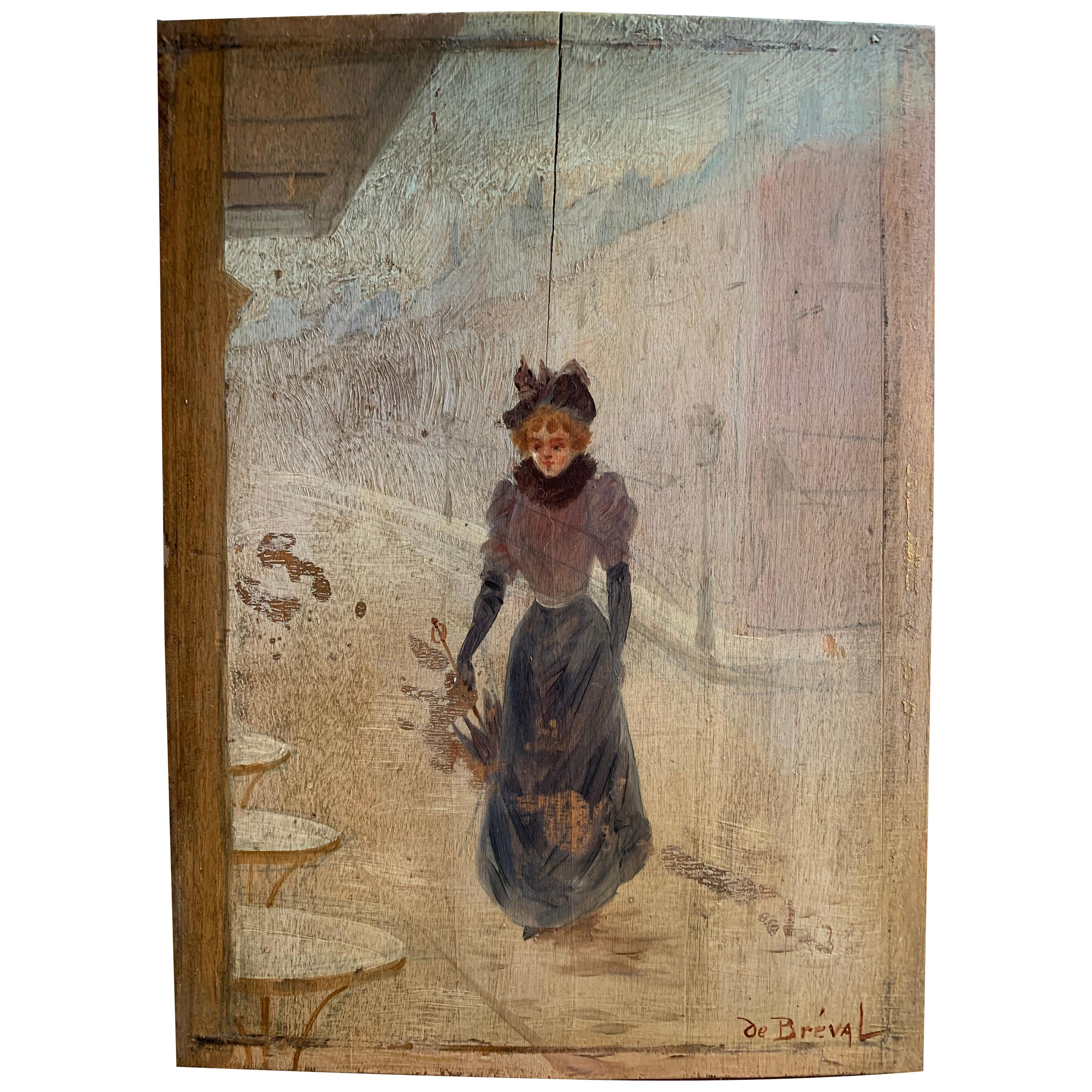 19th Century French Impressionistic Painting Of A Parisian Girl By H. De Bréval