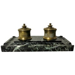 19th Century French Inkwell Napoleon III in Bronze and Marble