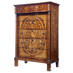 19th Century French Inlaid Mahogany 6-Drawer Inlaid Chest