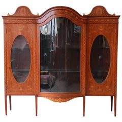 19th Century French Inlaid Mahogany Glass Front Bookcase or Display Cabinet