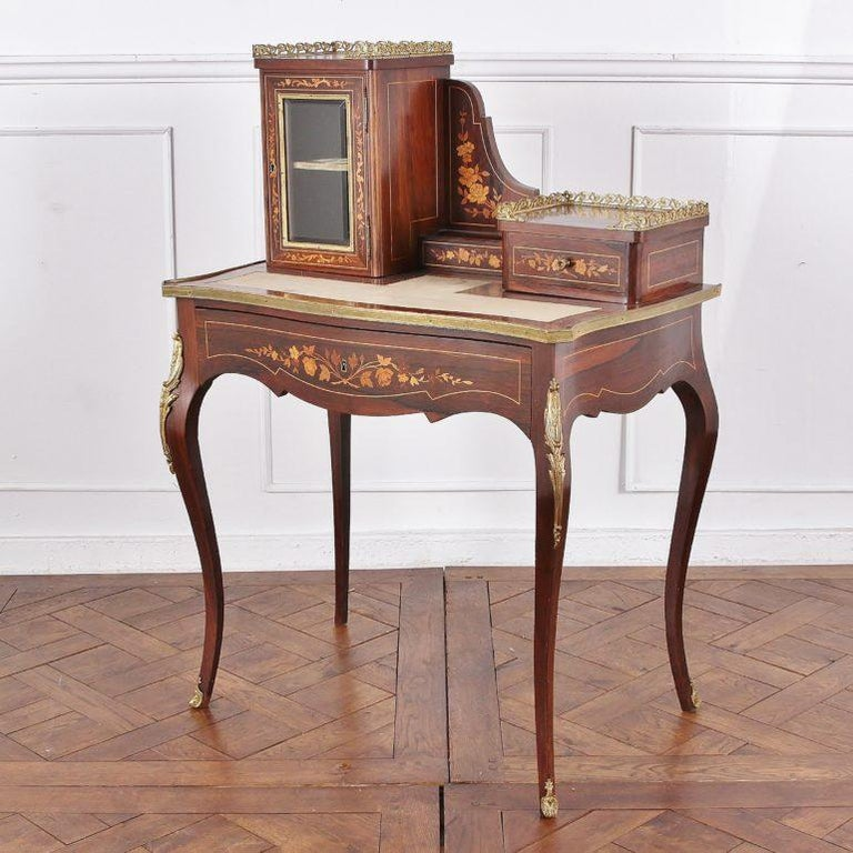 Napoleon III 19th Century French Inlaid Marquetry Bonheur-du-jour Writing Desk For Sale