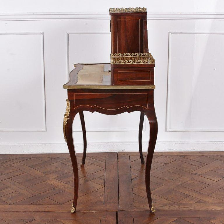 Inlay 19th Century French Inlaid Marquetry Bonheur-du-jour Writing Desk For Sale