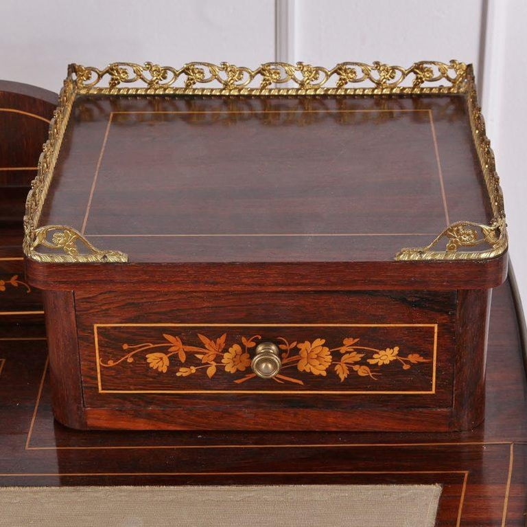 19th Century French Inlaid Marquetry Bonheur-du-jour Writing Desk In Good Condition For Sale In Vancouver, British Columbia