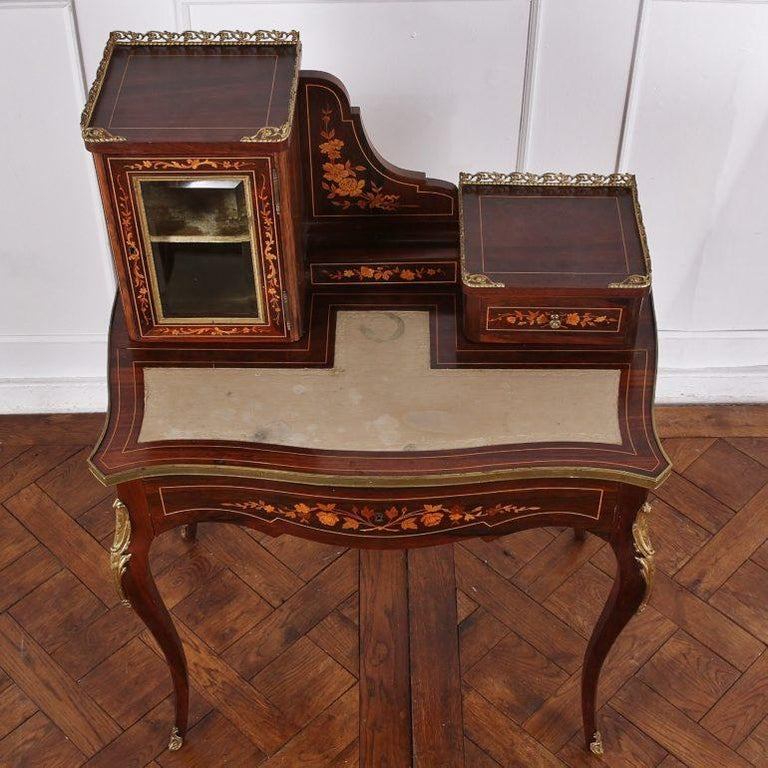 19th Century French Inlaid Marquetry Bonheur-du-jour Writing Desk For Sale 2