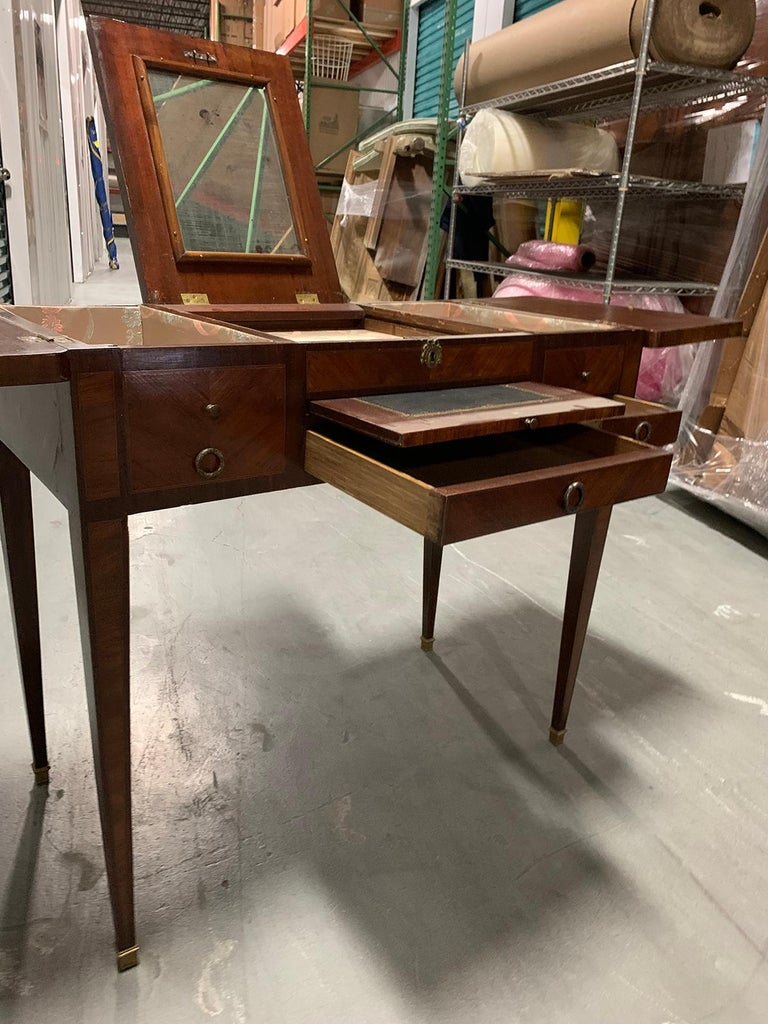 19th Century French Inlaid Poudress Dressing Table with Mirror For Sale 5