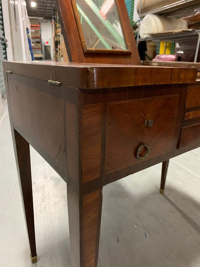 19th Century French Inlaid Poudress Dressing Table with Mirror For Sale 8