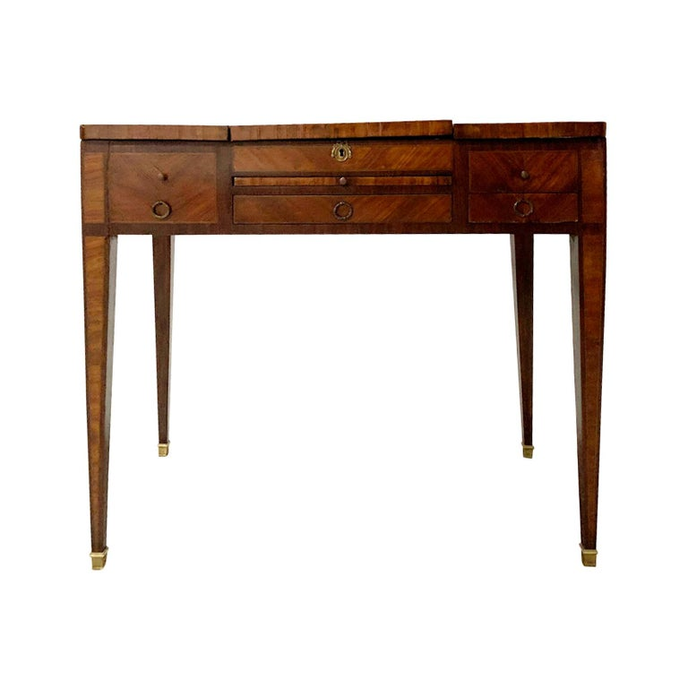 19th Century French Inlaid Poudress Dressing Table with Mirror For Sale