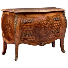 19th Century French Inlaid Two Drawers Rosewood Commode in Louis XV Style