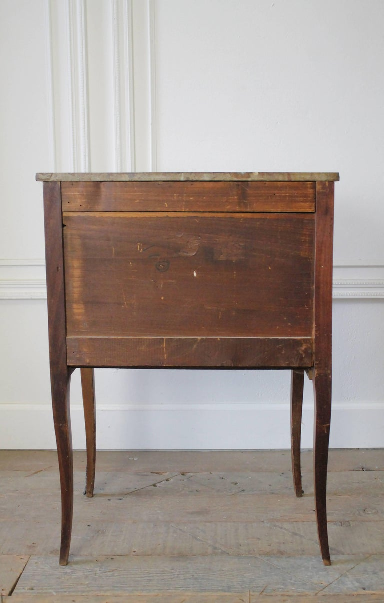 19th Century French Inlay Marble-Top Provincial Style Nightstand Table For Sale 3