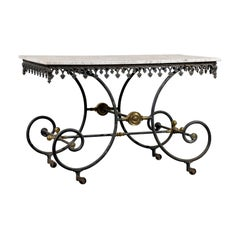 19th Century French Iron and Marble-Top Pastry Table with Gilt Accents
