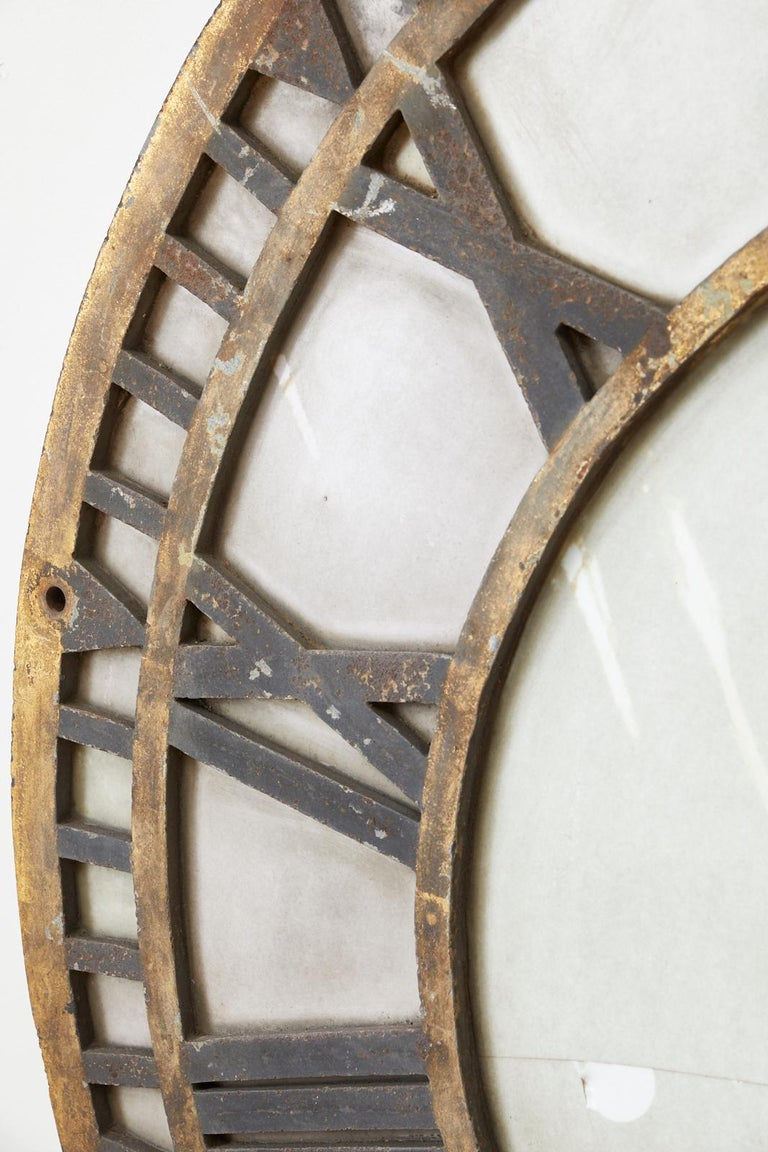 19th Century French Iron and Milk Glass Clock Face For Sale 5