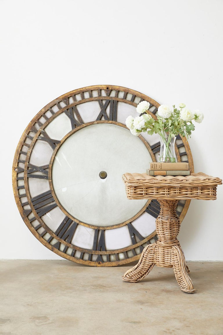19th Century French Iron and Milk Glass Clock Face For Sale 13
