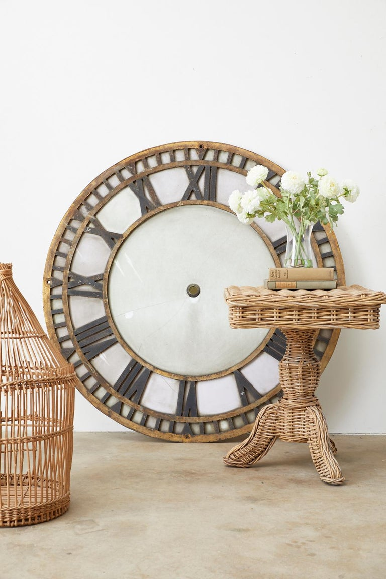 19th Century French Iron and Milk Glass Clock Face For Sale 1