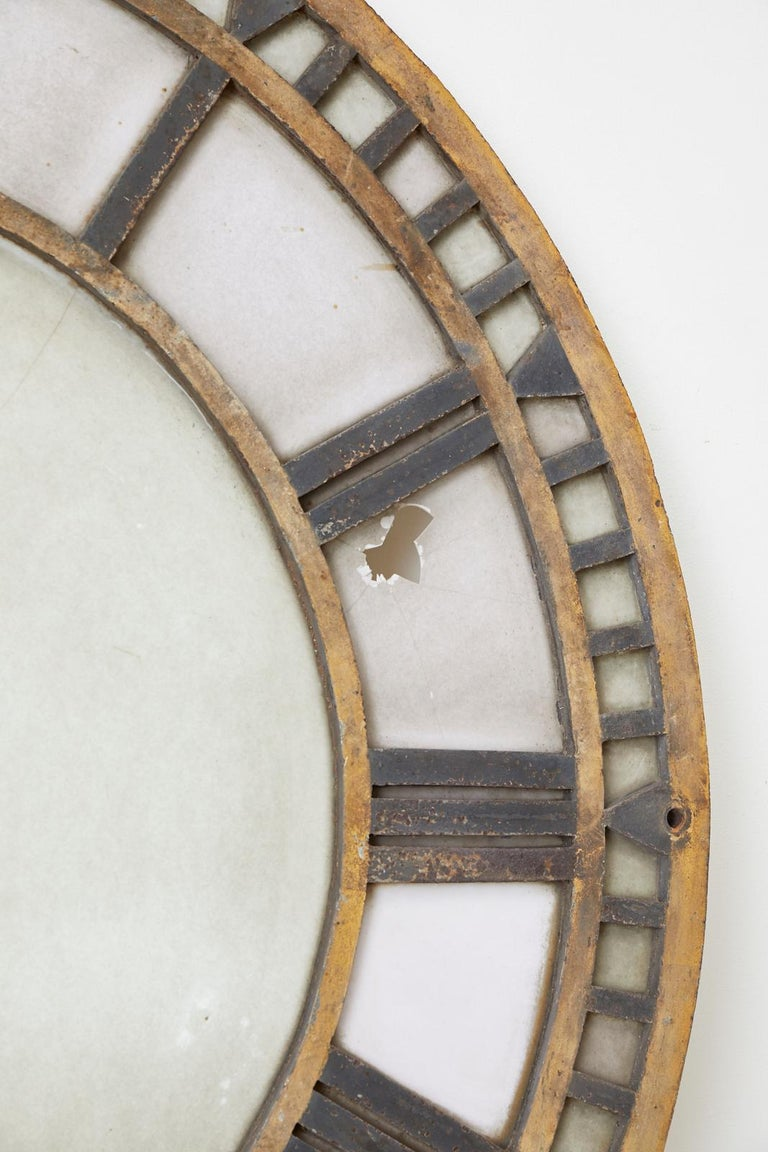 19th Century French Iron and Milk Glass Clock Face For Sale 2