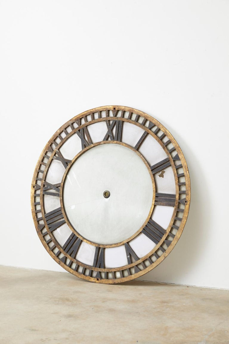 19th Century French Iron and Milk Glass Clock Face For Sale 3