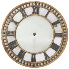 19th Century French Iron and Milk Glass Clock Face