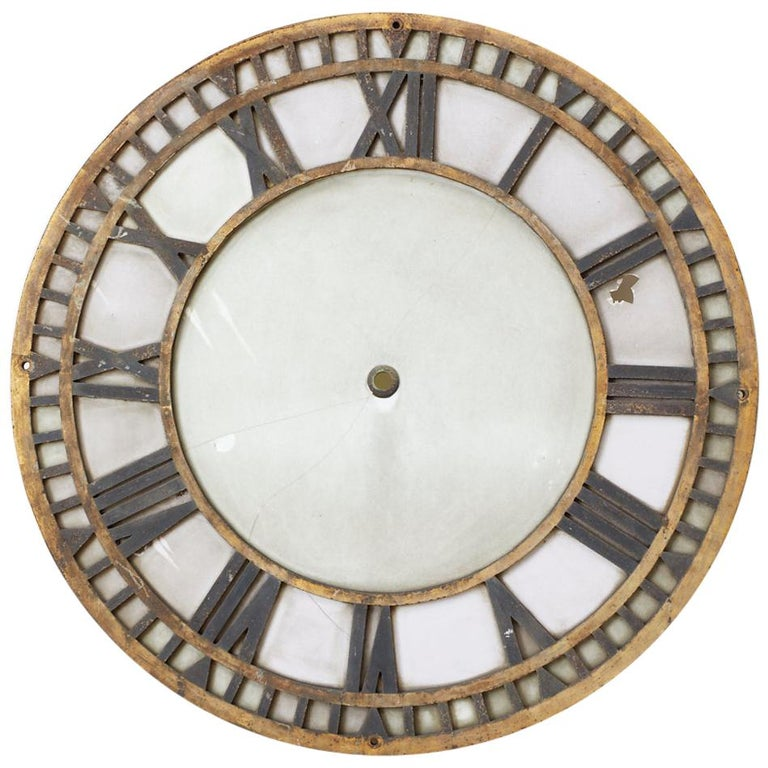 19th Century French Iron and Milk Glass Clock Face For Sale