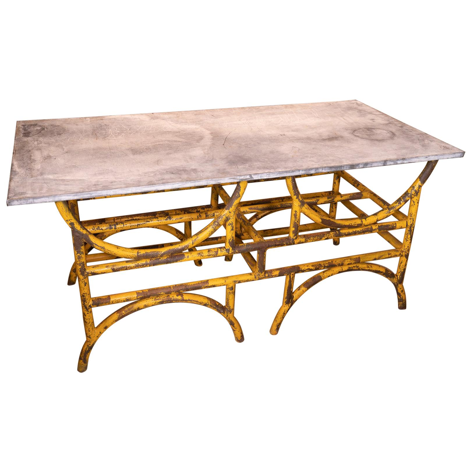 19th Century French Iron and Stone Table De Boucher