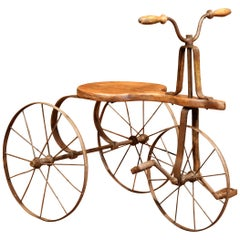 19th Century French Iron and Wood Child Tricycle