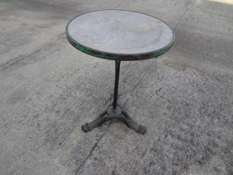 19th Century French Iron Bistro Table with a Stone Top For Sale 2