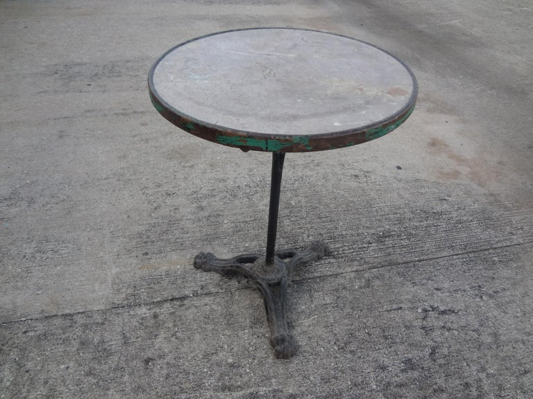 19th Century French Iron Bistro Table with a Stone Top For Sale 3