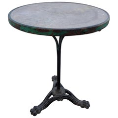 19th Century French Iron Bistro Table with a Stone Top