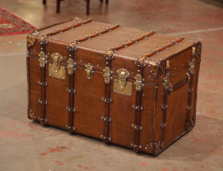 Hand-Crafted 19th Century French Iron Brass and Leather Travel Trunk For Sale