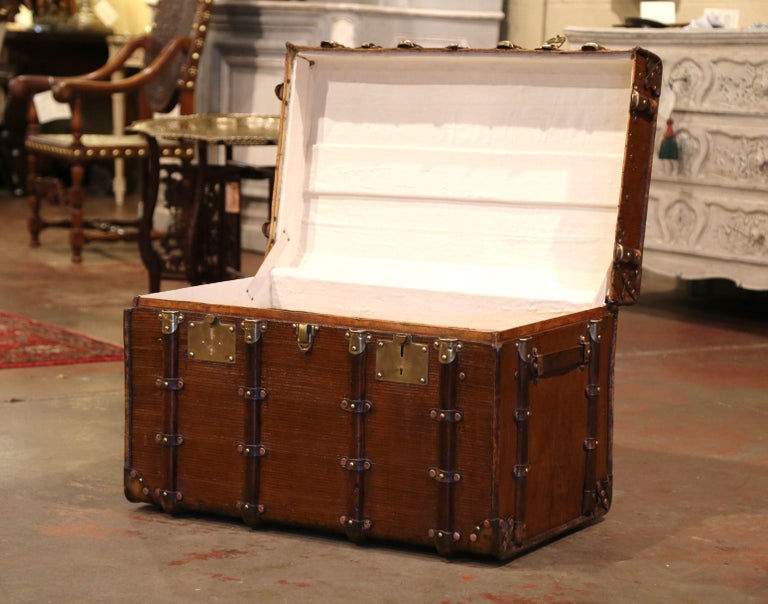 19th Century French Iron Brass and Leather Travel Trunk In Excellent Condition For Sale In Dallas, TX