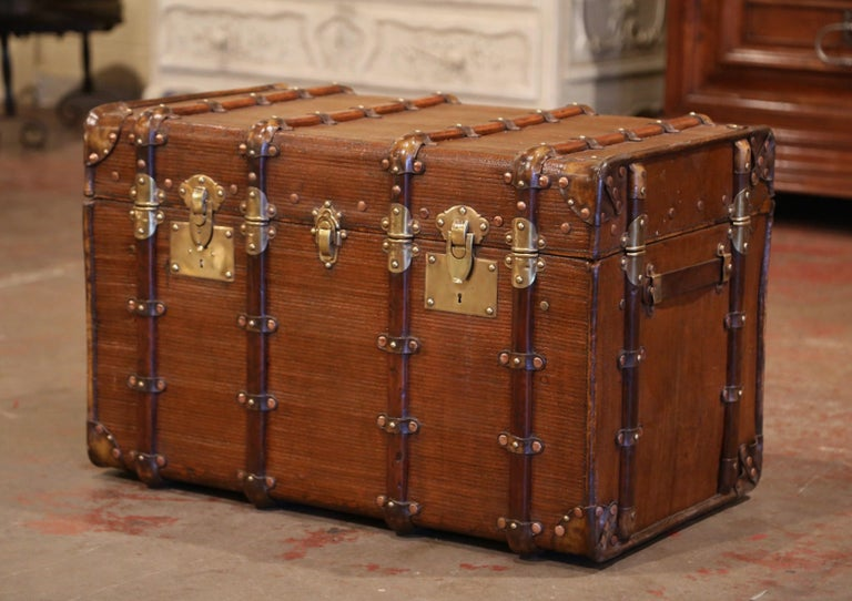19th Century French Iron Brass and Leather Travel Trunk For Sale 1