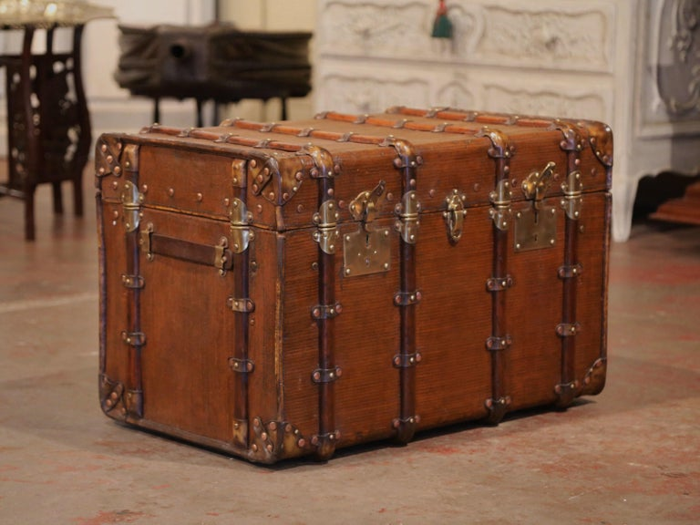 19th Century French Iron Brass and Leather Travel Trunk For Sale 2