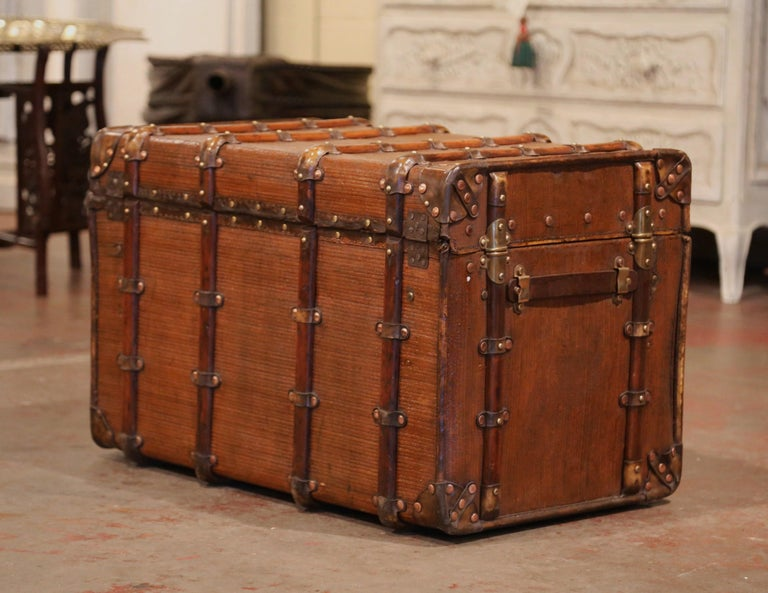 19th Century French Iron Brass and Leather Travel Trunk For Sale 3