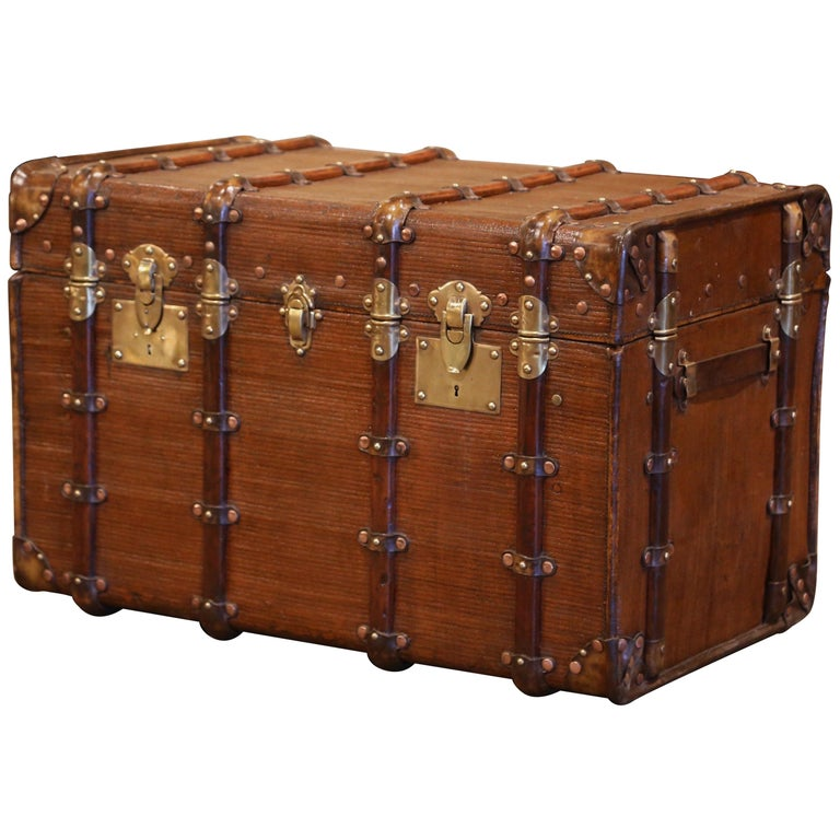 19th Century French Iron Brass and Leather Travel Trunk For Sale