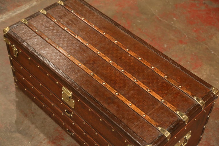 Hand-Crafted 19th Century French Iron Brass and Leather Travel Trunk Vuitton Style For Sale