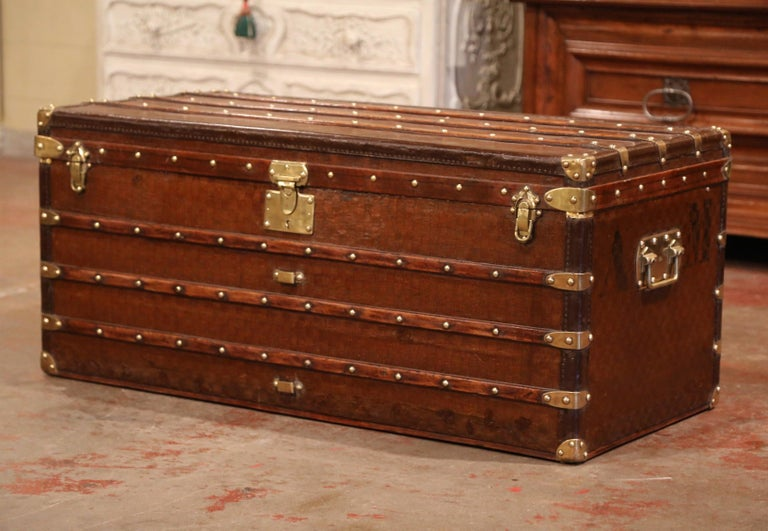 19th Century French Iron Brass and Leather Travel Trunk Vuitton Style In Excellent Condition For Sale In Dallas, TX