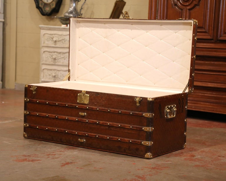 19th Century French Iron Brass and Leather Travel Trunk Vuitton Style For Sale 1