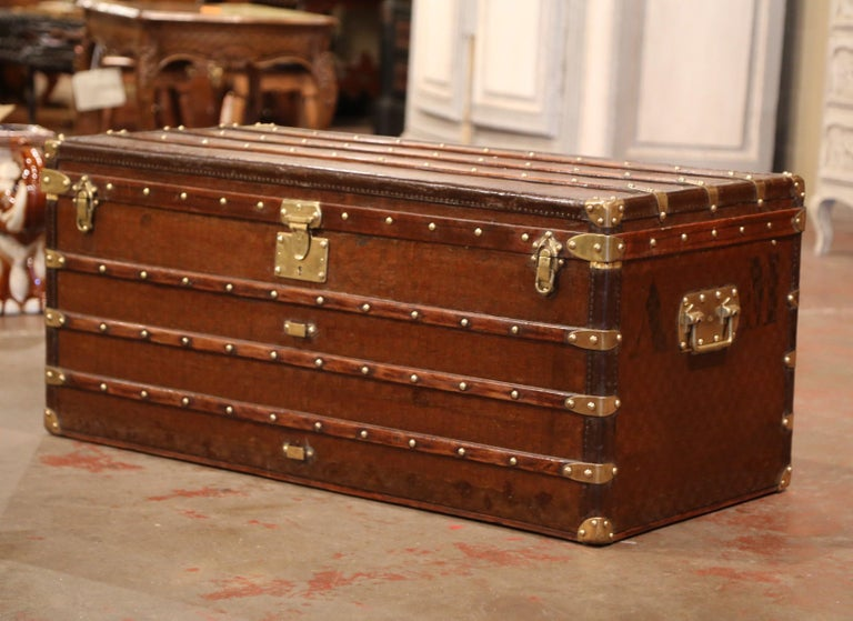 19th Century French Iron Brass and Leather Travel Trunk Vuitton Style For Sale 2
