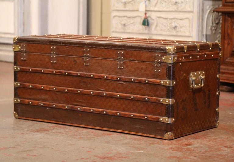 19th Century French Iron Brass and Leather Travel Trunk Vuitton Style For Sale 4